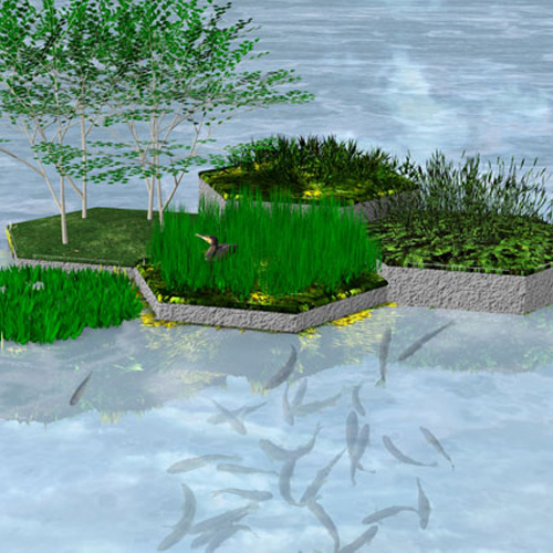 Recycled park floating recycled plastic landscapes for Plastic floating pond plants